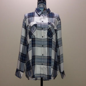 Sanctuary Blue And White Plaid Button Down Shirt